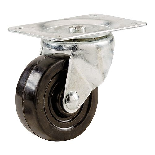 2-inch Soft Rubber Swivel Plate Caster with 90 lb. Load Rating