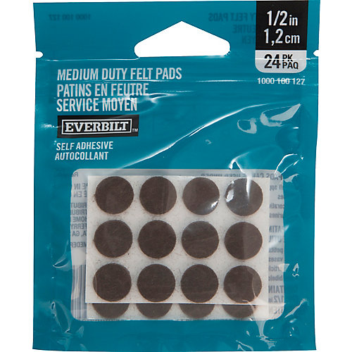 1/2-inch Med Duty Brown Felt Pad (24-Pack)