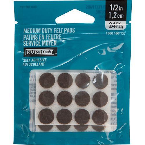 Everbilt 1/2-inch Med Duty Brown Felt Pad (24-Pack)