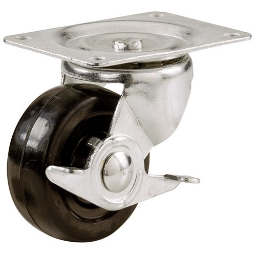 2-1/2-Inch Soft Rubber Swivel Plate Caster with Side Brake, 100-lb Load Capacity