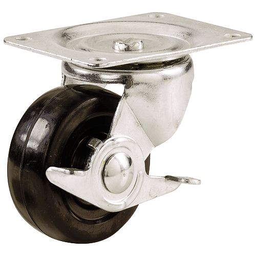 3-inch Soft Rubber Swivel Plate Caster with 175 lb. Load Rating and Brake