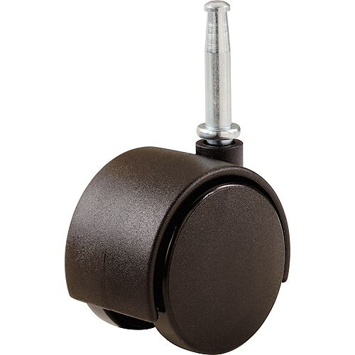 2-inch Plastic Twin Wheel Swivel Stem Casters with 75 lb. Load Rating (2 per Pack)