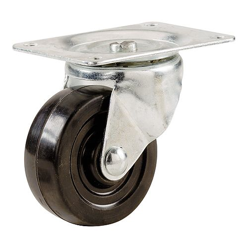 2-1/2-inch Soft Rubber Swivel Plate Caster with 100 lbs. Load Rating