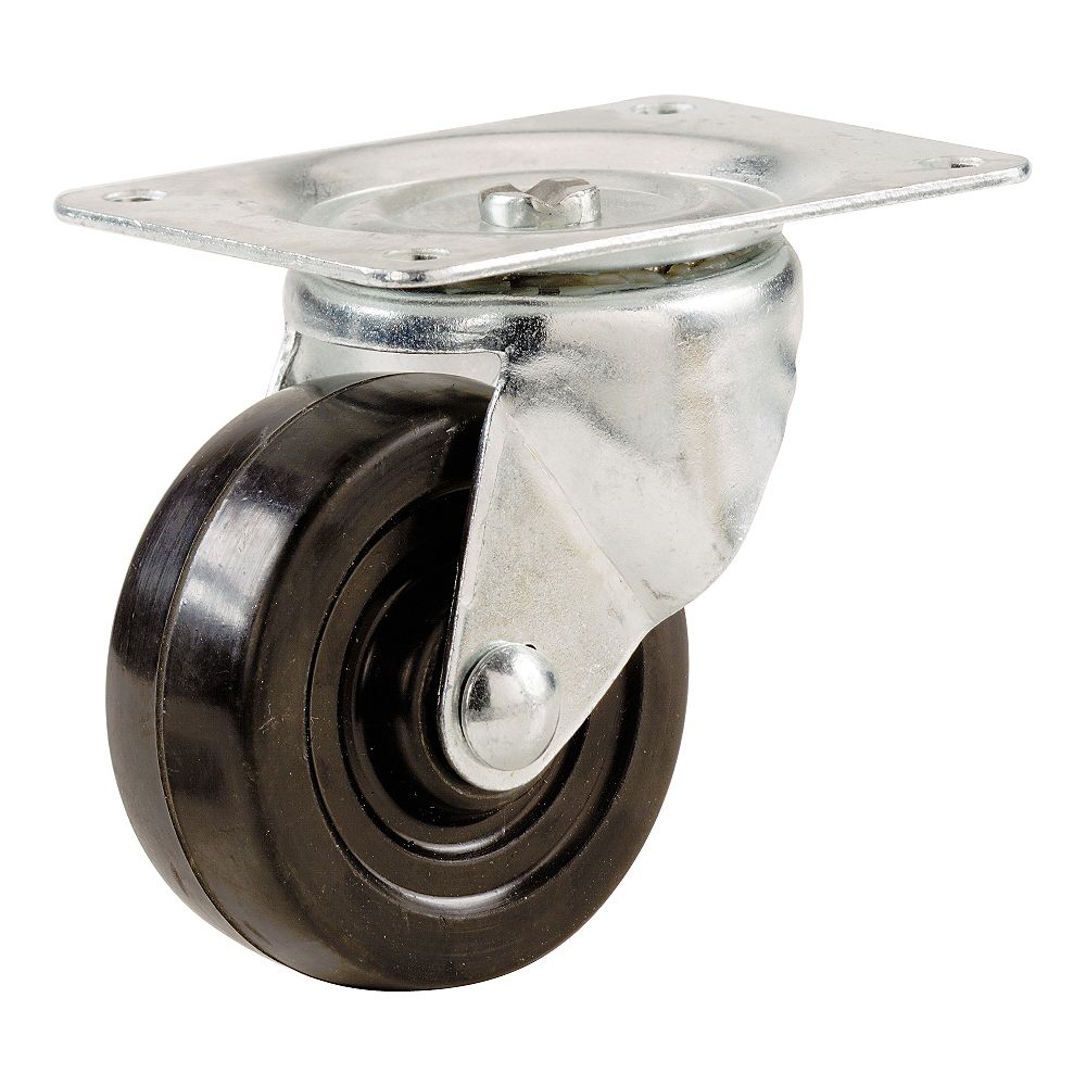 Everbilt 4-inch Soft Rubber Swivel Plate Caster with 225 lbs. Load Rating