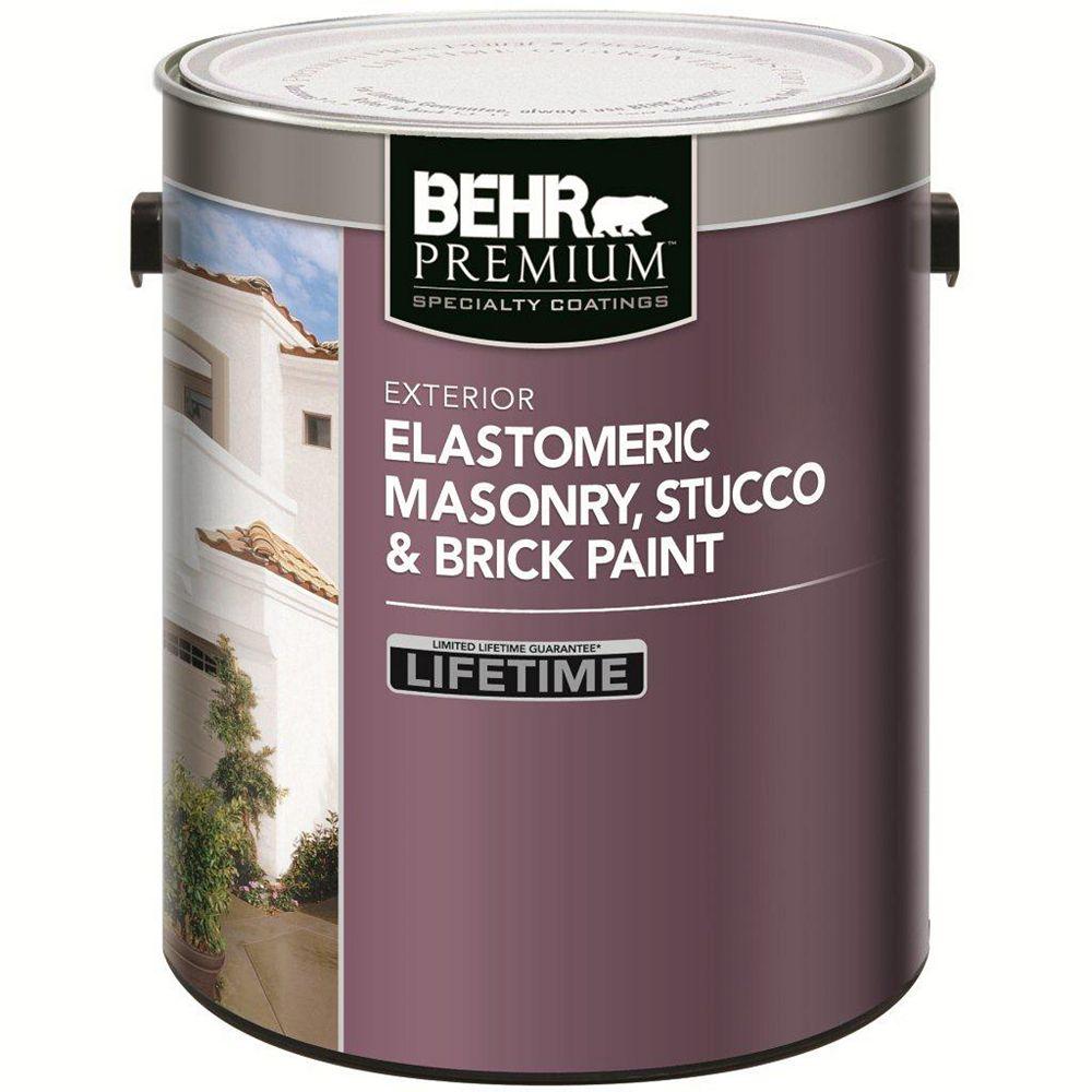 Behr Premium ELASTOMERIC Masonry, Stucco & Brick Paint - White, 3.67L
