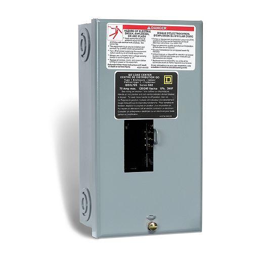 Schneider Electric - Square D 70 Amp QO Sub Panel Loadcentre with 2 Spaces, 4 Circuits Maximum