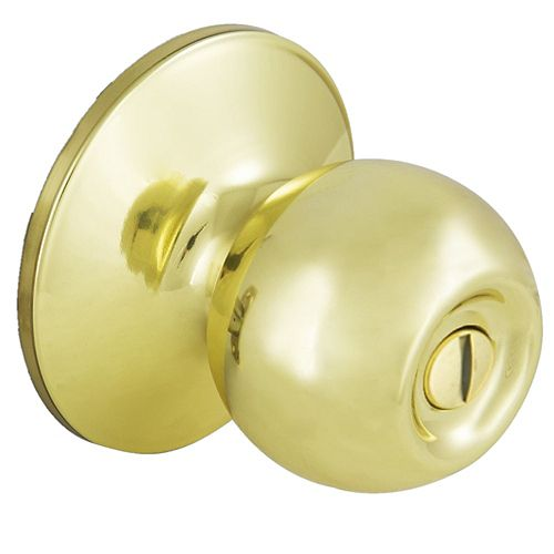 Defiant Saturn Bed & Bath Room Privacy Door Knob in Polished Brass