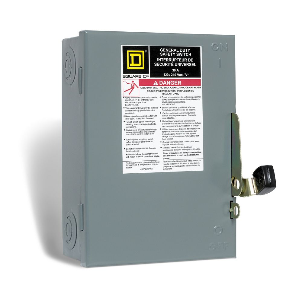 square d 30 amp general purpose safety switch - plug fuse | the home depot  canada  the home depot canada
