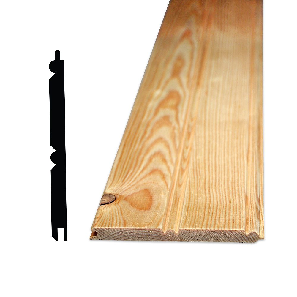 Alexandria Moulding 5/16-inch x 4-inch - 8 Feet Pine Knotty Edge and Centre Beaded Pattern