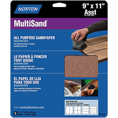 MultiSand 9-inch x 11-inch Sanding Sheets Assorted Grits (5-Pack)