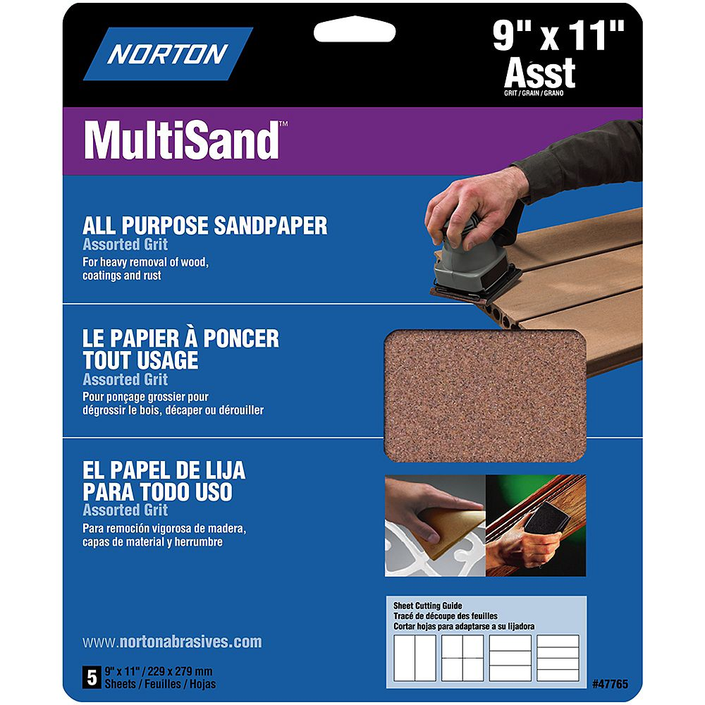 Norton MultiSand 9-inch x 11-inch Sanding Sheets Assorted Grits (5-Pack)