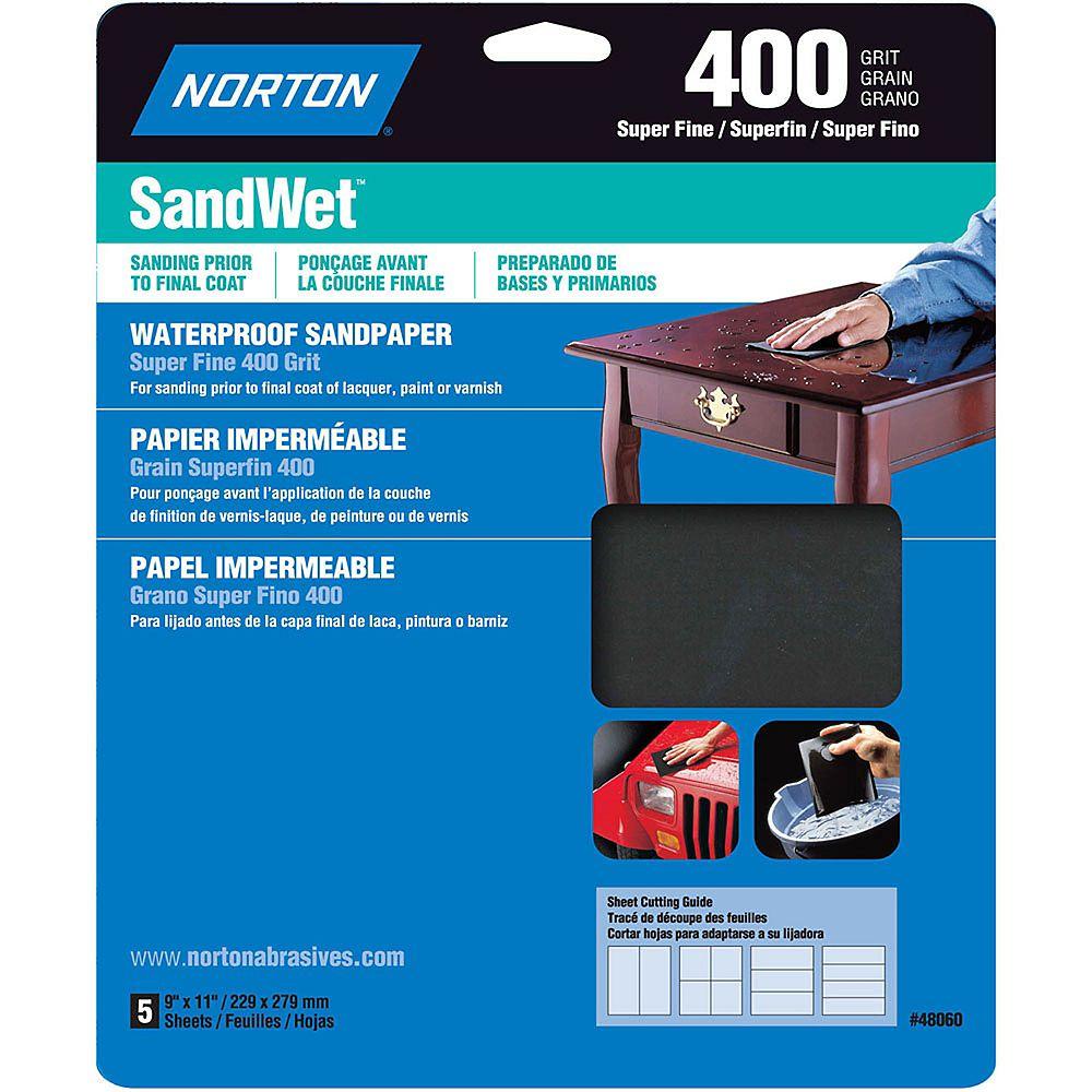 Norton Feuilles de ponçage hydrofuge SandWet 9 pix11 pi Extra Fin-Grain 400 Emb. de 5 feuilles