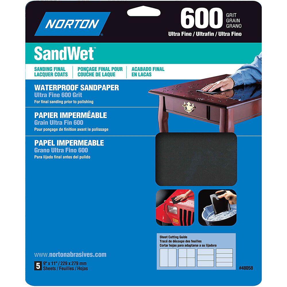 Norton Feuilles de ponçage hydrofuge SandWet 9 pix11 pi Ultra Fin-Grain 600 Emb. de 5 feuilles