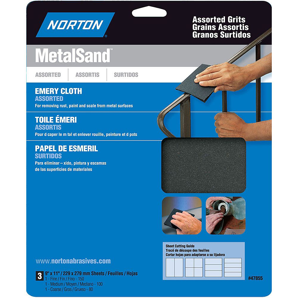 Norton MetalSand 9-inch x 11-inch Sanding Sheets Assorted Grits (3-Pack)