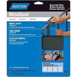 Feuille à ponçer Emeri MetalSand 9 pix11 pi Grain Assortis Emb. de  3 feuilles