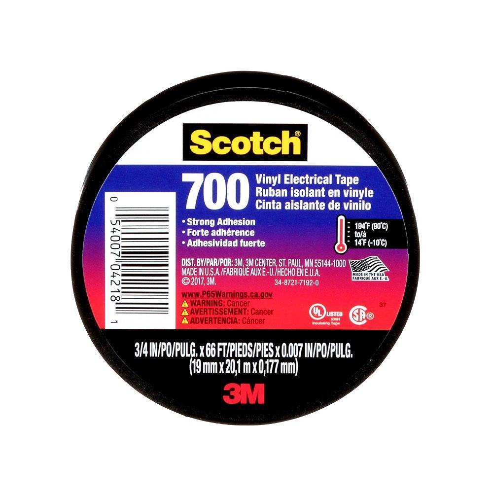Scotch Ruban isolant en vinyle 700 Scotch®, 4218-BA-40 700, noir, 1,9 cm x 20,1 m (0,75 po x 22 v)