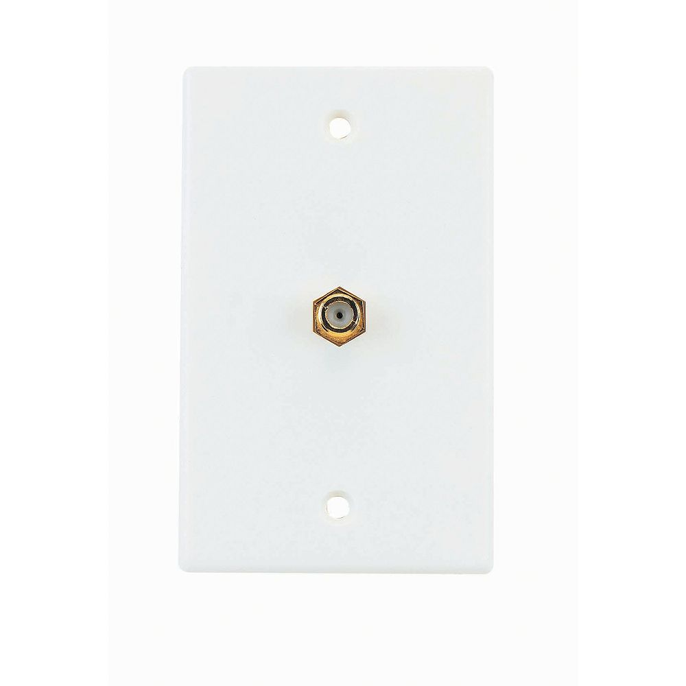 RCA Coaxial Cable Wall Plate - White