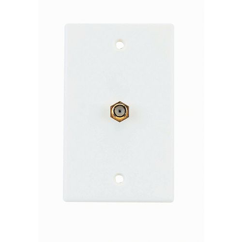 Coaxial Cable Wall Plate - White