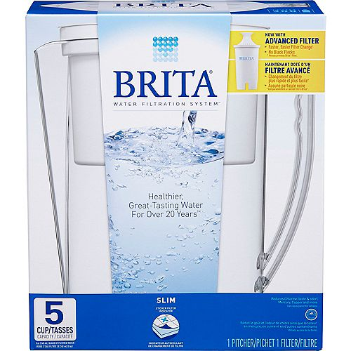 Slim Water Filter Pitcher with 1 Replacement Filter, 5 Cup