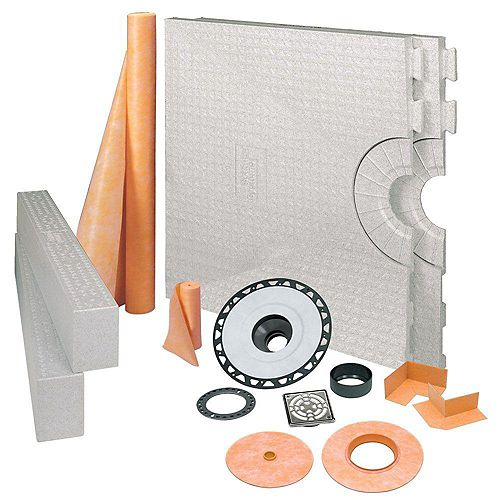 Kerdi-Shower 32 in. x 60 in. Shower Kit in ABS with Stainless Steel Drain Grate