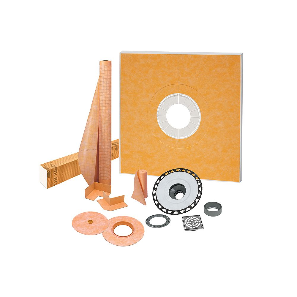 Schluter Kerdi-Shower 48 inch x 48 inch Shower Kit in ABS with Stainless Steel Drain Grate