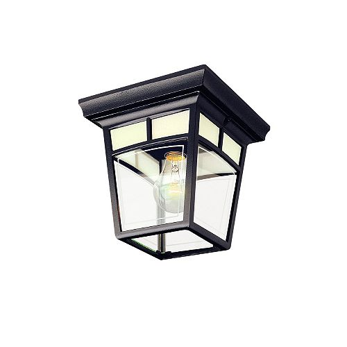 Imagine Series, Black With Frosted Pattern Glass Panels, Ceiling Mount