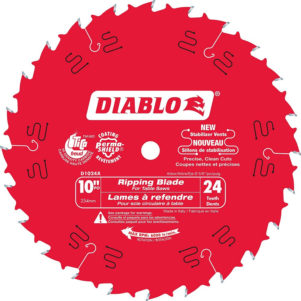 Diablo 10-inch x 24 Tooth Carbide Tipped Ripping Table Saw Blade for Wood Cutting
