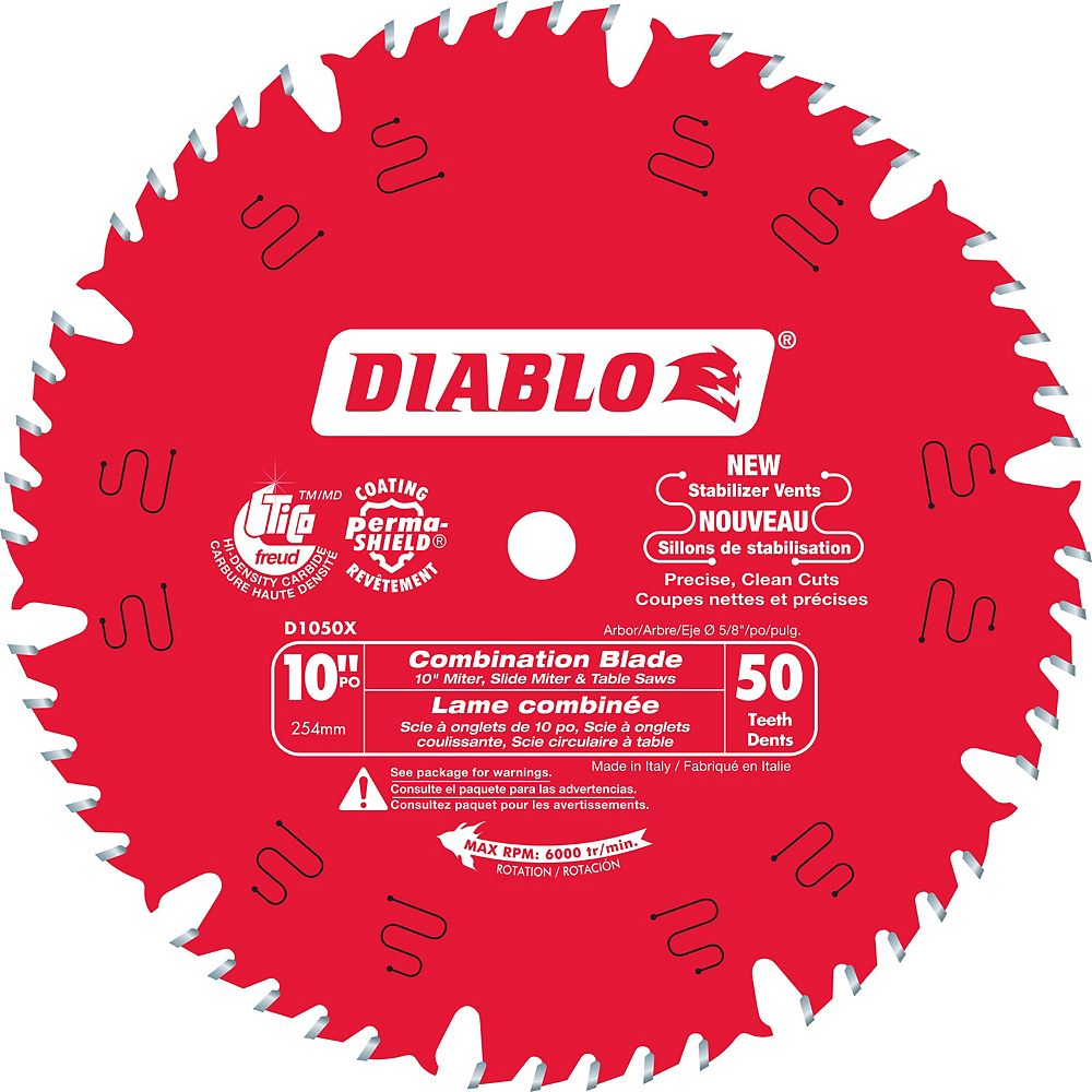Diablo 10-inch x 50 Tooth Carbide Tipped Combination Mitre/Table Saw Blade for Wood Cutting