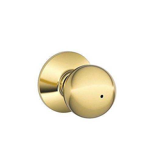 Schlage Privacy Knob Orbit Bright Brass