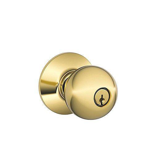 Schlage Orbit Bright Brass Keyed Entry Knob