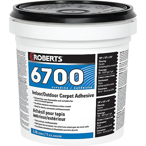 6700, 3.78L Indoor/Outdoor Carpet Adhesive and Glue