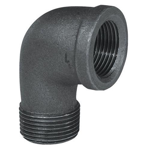 STZ Raccord Fonte Noire Coude 90 Degrés Mâle x Femelle 1/2 Pouce