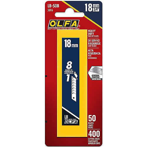 18mm Snap-Off Replacement Blades, 50 pack
