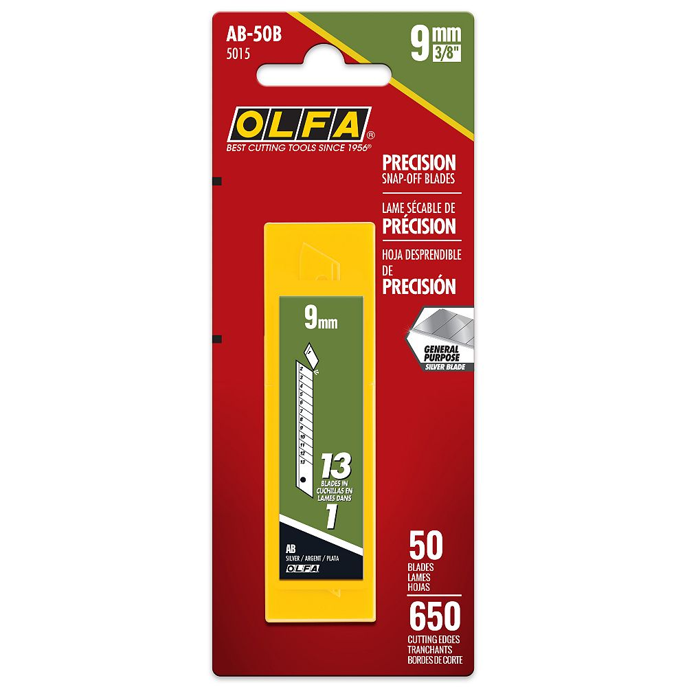 Olfa 9mm lames sécable de rechange, paquet de 50