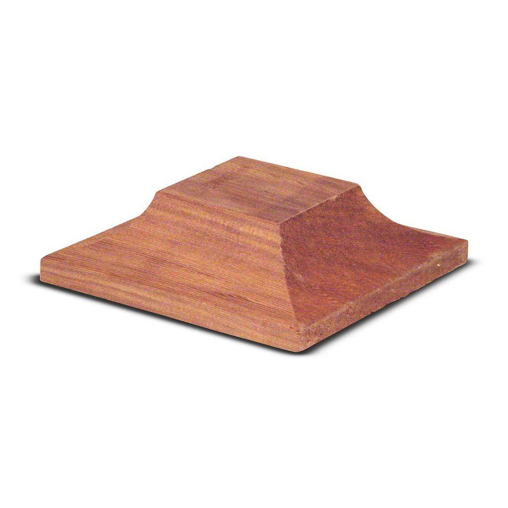 HDG Capuchon de poteau plat en cèdre rouge de lOuest de 2 po x 6 po x 6 po