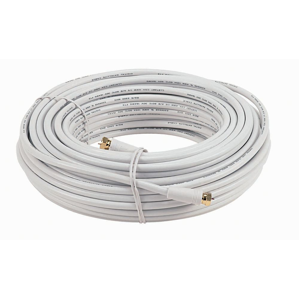 RCA 15.2m RG 6 Coax Cable With Ends-White