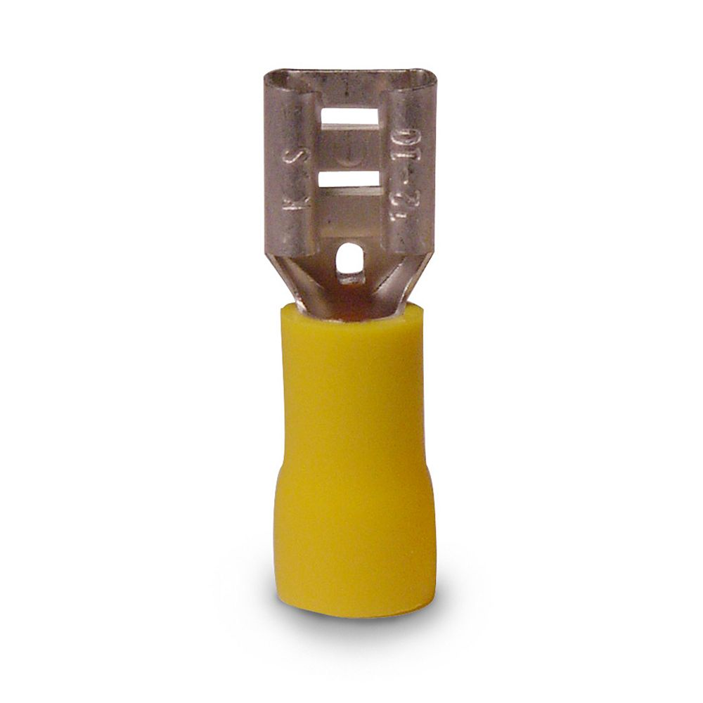 Gardner Bender Disconnect Vinyl-Insulated Barrel-Female 12-10 AWG Tab: 0.25 In  Yellow  6/CARD