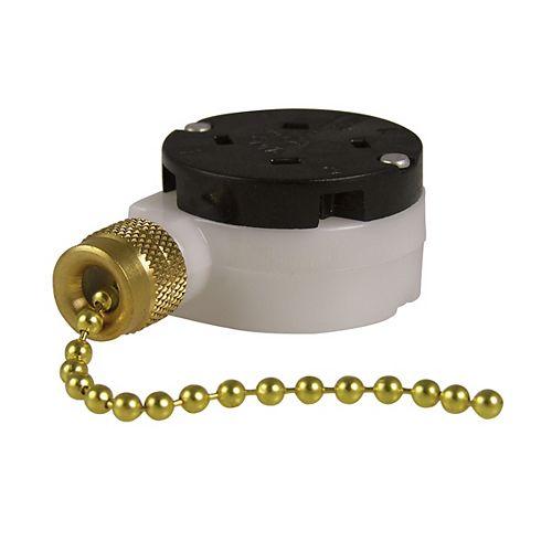 Gardner Bender Interrupteur à chaînette à 3 vitesses F/O/O/O unipolaire et unidirectionnel de 6A/125V c.a.