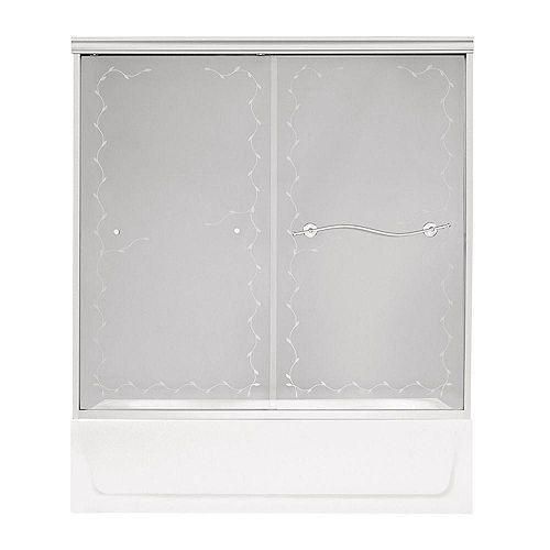 Noble 2-Panel Frameless Frosted Vine Pattern Tub Door