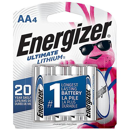 Piles Energizer Ultimate Lithium AA, paquet de 4