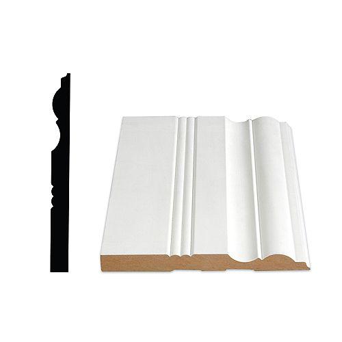 5/8-inch x 6 1/2-inch Victorian LDF Primed Fibreboard Baseboard Moulding