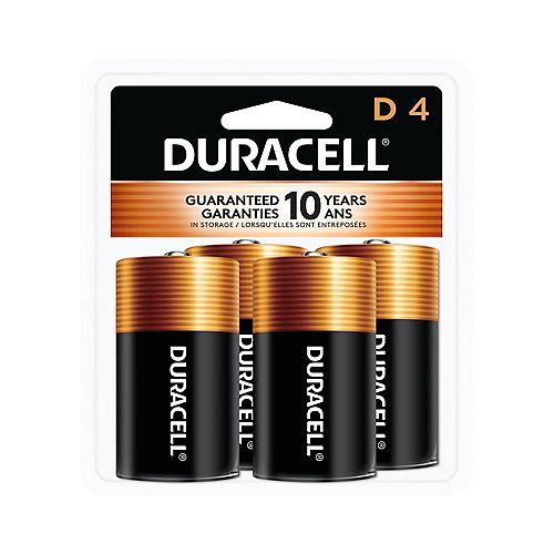 Coppertop D Alkaline Batteries 4 count