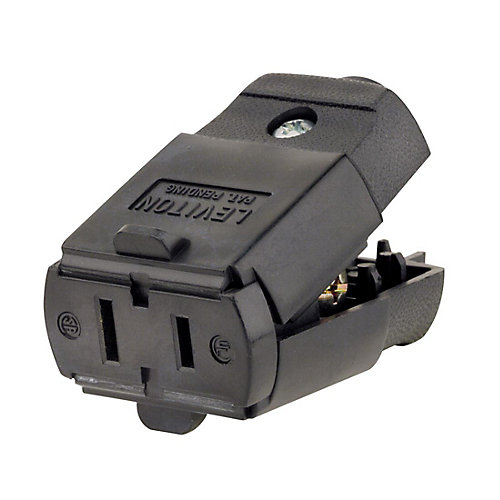 15 Amp Polarized Light Duty Clamptite Connector 125V, Black