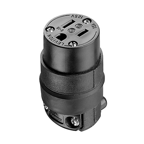 15 Amp Rubber Grounding Connector, Black