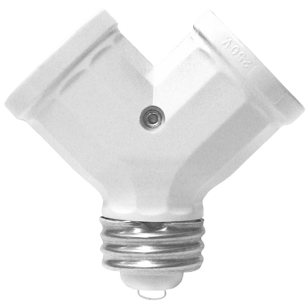 Leviton Twinlite Lamp holder Adapter, White