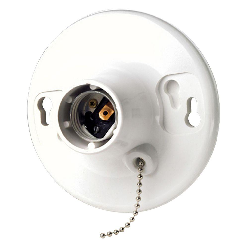 Leviton Ceiling Lamp Holder, White