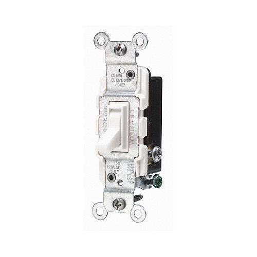 15 Amp 3 Way Quiet Wall Switch - White