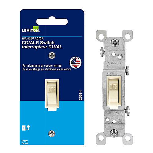 15Amp Single Pole Wall Switch - Alum - Ivor