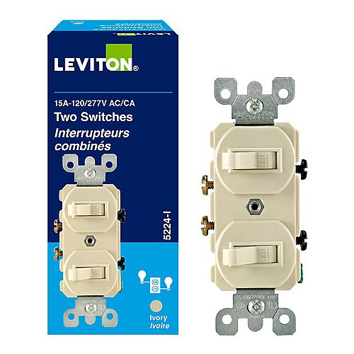 15 Amp Commercial Grade Combination Two Single Pole Grounding Toggle Switches in Ivory