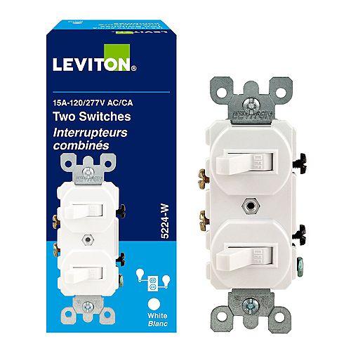 Leviton Interrupteur double, 15A, blanc